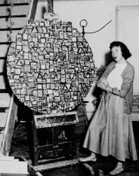 Lee Krasner with an early version of Stop and Go 1949